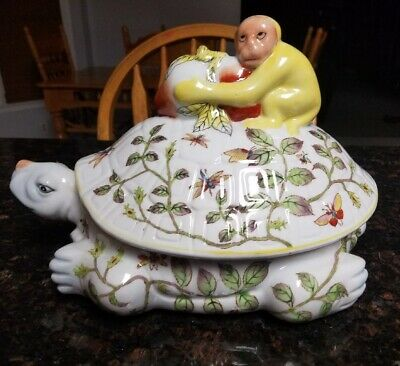 Antique chinoiserie Turtle Lidded Dish With a Monkey Riding on Top Rare!!!