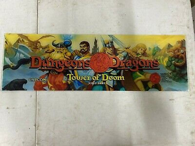 Original 1994 Dungeons & Dragons Plexiglass Header Marquee Coin Op Video