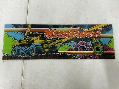 Original 1982 Moon Patrol Plexiglass Header Marquee Coin Op Video