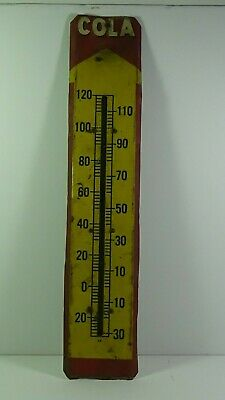 """Vintage COLA Thermometer Advertising Sign 19-1/2"""" x 4"""" Metal & Wood #944"""