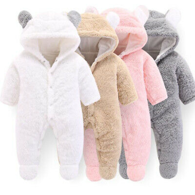 Winter Infant Baby Boy Girls Cotton Hooded Romper Jumpsuit Clothes Outfit Trendy