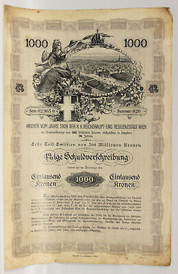 1908 Austria Vienna 1000 Foreign Bond Stocks Uncancled With Cupons Collectible