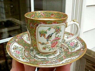 Antique Canton Chinese Export Famille Rose Medallion DEMITASSE CUP SAUCER SET #2