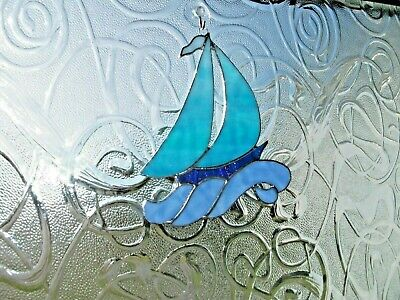 Stained Glass handmade sailing boat sun-catcher / window decoration