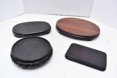 Lot 4 ASIAN DISPLAY Chinese Japanese STANDS BASE for VASE BOWL statue LAMP WOOD