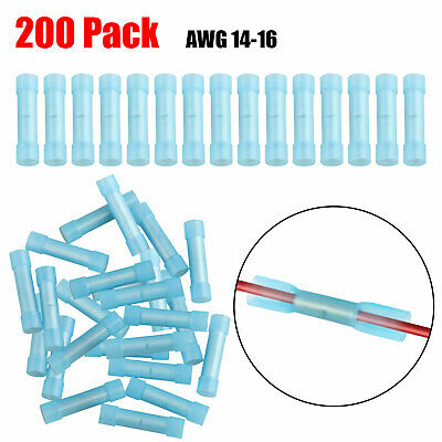 200 Pack 16-14 Gauge Wire Butt Connector Blue Nylon 16-14 AWG PRO Crimp Terminal