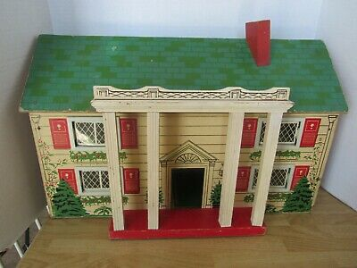VTG Fiber Board Two Story Doll House  w/ furniture (wooden and plastic pieces)