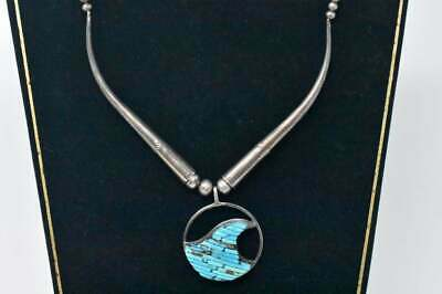 Very nice Silver and turquoise necklace by noted Navajo silversmith Pete Sierra