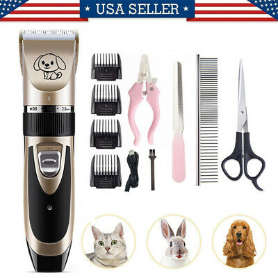 USA Animal Pet Dog Cat Hair Electric Trimmer Shaver Razor Grooming Clipper Set