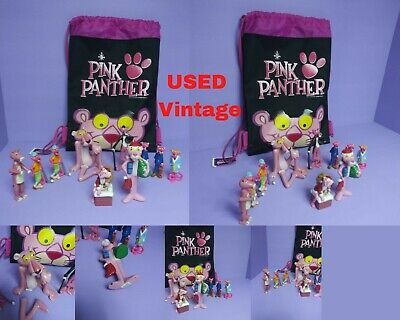 Vintage 1989 Pink Panther PVC Toy Figures + Pink Panther Porcelain Seated 1982