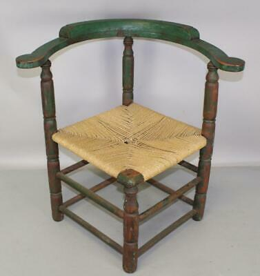 A Rare 18Th C William And Mary Corner Chair Porringer Hands In Old Green Paint