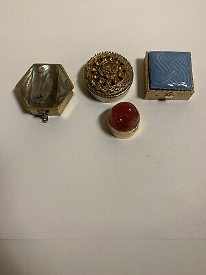 Lot of 4 Antique Pill  Boxes Trinket Box