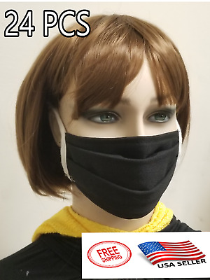 25 Pack Face Mask Black Washable Reusable Unisex Double Layer Face Cover