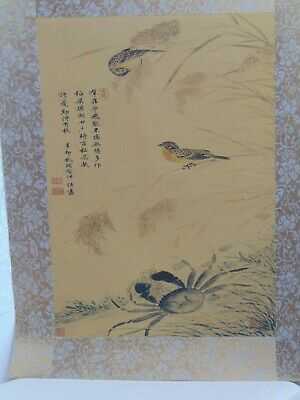 Chinese Ink Drawing On Silk Qing Dynasty - Signed - Birds and Crab Subject