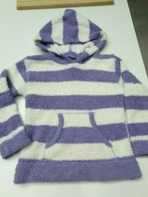 Girls Matalan Fluffy Hoodie, Purple & White Stripes, Age 3-4, VGC