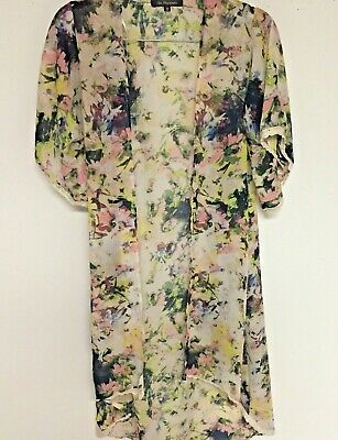 Chic Happens Sheer Floral Robe Gown Kimono Sleeve Lace Trim Size Small