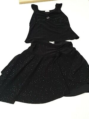 Girls 2 piece party outfit, black sparkly, looks gorgeous on, Age 3, VGC