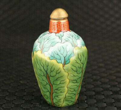 Rare Chinese old porcelain Hand painted Chinese cabbage Snuff bottle Noble gift