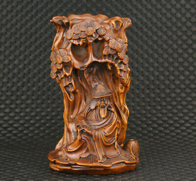 Big chinese boxwood handmade buddha figure statue Brush pot Table decoration
