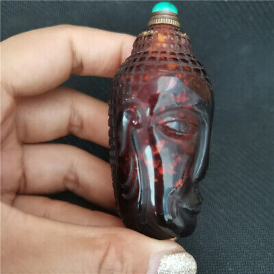Collectable uncommon Coloured glaze sprinkling gold buddha head snuff bottle