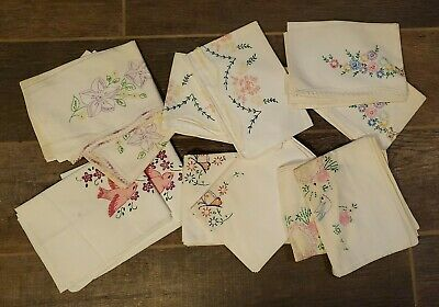 vintage hand embroidered pillowcases, 6 sets
