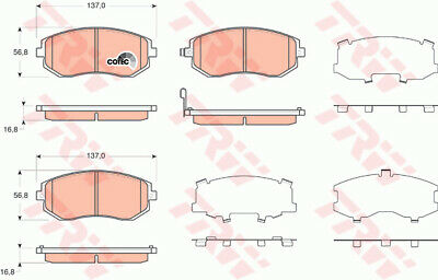 Brake Pads Set fits SUBARU OUTBACK BSD 2.0D Front 2015 on EE20Z TRW 26296AG030