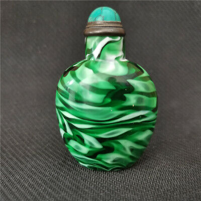 Collected uncommon natural Green Coloured glaze handmade snuff bottle statue