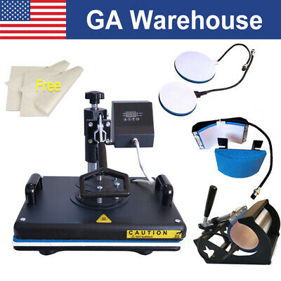 "Combo 15""x12"" 5in1 Heat Press Machine Sublimation Transfer for T-Shirt Mugs Cups"