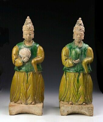 *Sc*A Pair Of Large Chinese Pottery Attendants, Ming Dynasty, 1368-1644!