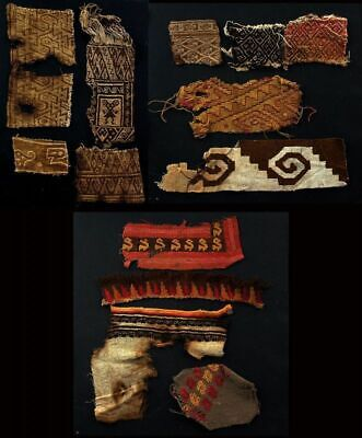 *Sc*Collection Of 13 Pre-Columbian Chancay Textile Fragments!