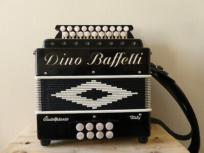 D/G Melodeon  Dino Baffetti Black Pearl Ii ,  With Hard Case And Straps