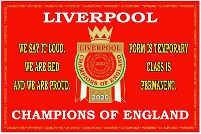 Liverpool 2020 League Champions flag.size 90cm x 60cm. GREAT QUALITY MATERIAL