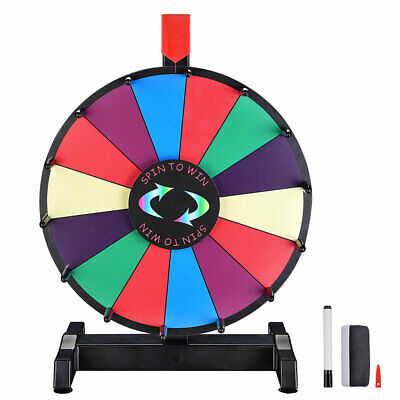 "12"" Dry Erase Spinning Color Prize Wheel Tabletop Fortune Carnival Game Editable"