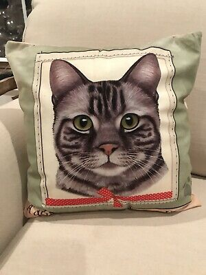 "Tabby Gray Cat ""A Home Without A Tabby Is Just A House"" Decorative 16x16 Pillow"