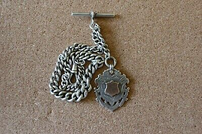 Victorian Solid Silver (Heavy) Albert Pocket Watch Chain And Fob