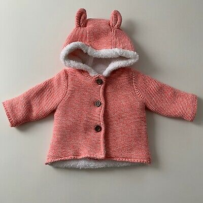 Mothercare Girls Pink Hooded Fleece Lined Jacket - 1 Month - Immaculate Conditio