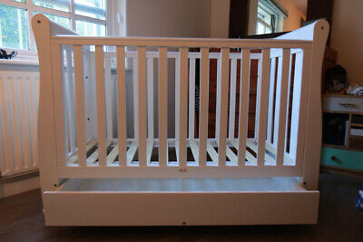 Babymore Eva Sleigh Cot Bed Dropside with Drawer (White) Mattress