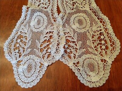 "Antique Brussels Bobbin Tape Lace Lappet-Hand Made-Flowers & Leaves-56""-SCARF"