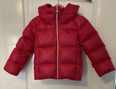 Girls Pink Padded Polo Ralph Lauren Jacket Size 4