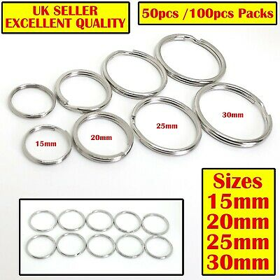 Split Rings 15mm 20mm 25mm 30mm Keyring Hook Loop Leather Craft Chain DIY Jump