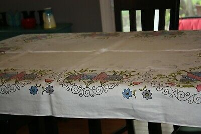 Vintage Print Tablecloth Houses and Flowers Blue Pink Grey 67 X 51