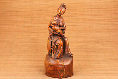 chinese old boxwood hand carved mother child statue figure part flaw deco