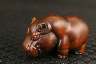 chinese old boxwood hand carved Hippo statue netsuke collectable