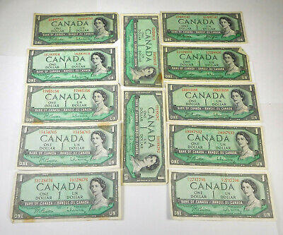 1954 Canada 1$ Notes- Lot Of 12