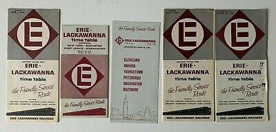 Lot of (5) Vintage 1962 Erie Lackawanna Railroad RR Timetables brochures train