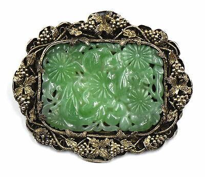 Antique Chinese Export Carved Jade Filigree Brooch Pin Vermeil Silver Signed Liu