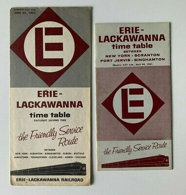 Lot of (2) Vintage 1961 Erie Lackawanna Railroad RR Timetables brochures train