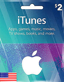 Apple iTunes Gift Card - $2 (USD) - American USA  - Instant Delivery