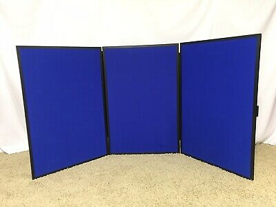 NOBO   SHOWBOARD 3 Panel Front & Back   Blue Both Sides   3' Tall 6' Long
