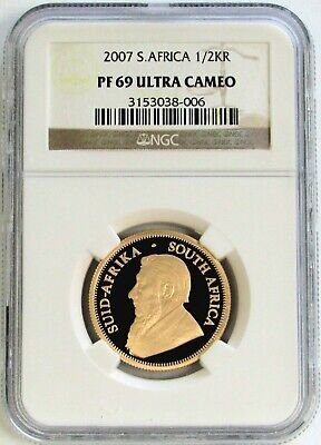 2007 Gold South Africa 16.965 Grams 1/2 Oz Krugerrand Coin Ngc Proof 69 Uc
